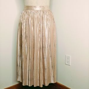 Anthroplogie Sabina Musayev Cassia Midi Gold Skirt
